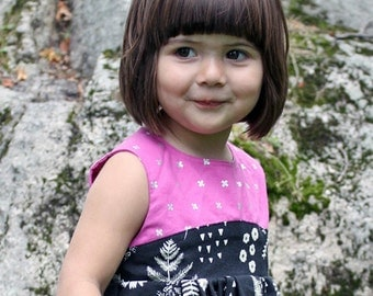 Girls, Toddlers, Babies, Black Fern Dress with Fushia and Silver Contrasting Print