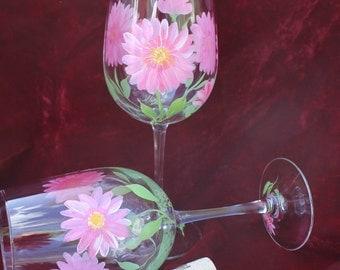 Set of 2 Hand Painted Wine Glasses - Pink Gerbera Daisy