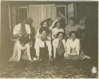 Girls' Horse Play, Early 1900s Antique Snapshot Photo (57387)