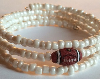 "Sporty ""Kickoff Time"" Beaded Memory Wire Bracelet"