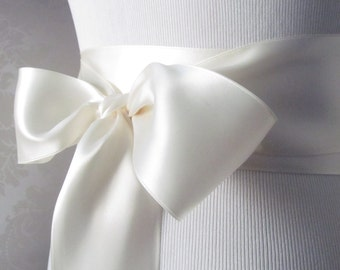 Antique White Satin Ribbon Sash / Ribbon Sash / Satin Bridal Sash /  Bridesmaid Sash /