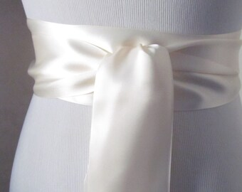Cream Satin Ribbon Sash / Ribbon Sash / Satin Bridal Sash /  Bridesmaid Sash / Cream