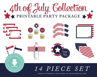INSTANT DOWNLOAD 4th of July Printable Party Package (4th of July Party, 4th of July Instant Download, 4th of July Party Decorations)