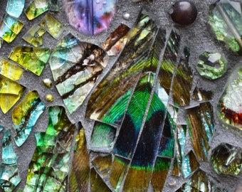 Mosaic Sea shell & peacock feather mirror - Real peacock feather inlays, mosaic art