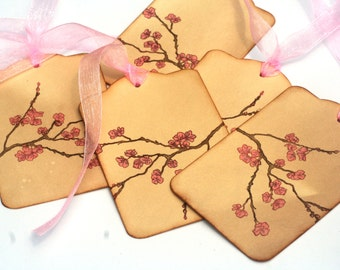 Pink Cherry Blossoms Gift Tags, Hang Tags, Wedding tags / Wish tree, Vintage Inspired