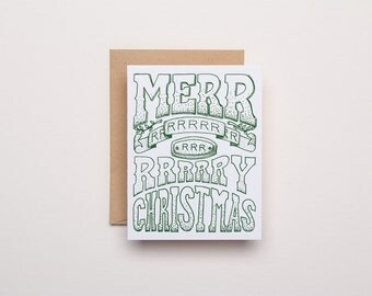 Merrry Christmas Card - Letterpress Holiday Card