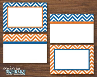 Editable Buffet Cards in Blue and Orange, Chevron Graduation Food Labels, Table Tents, INSTANT DOWNLOAD, digital printable file