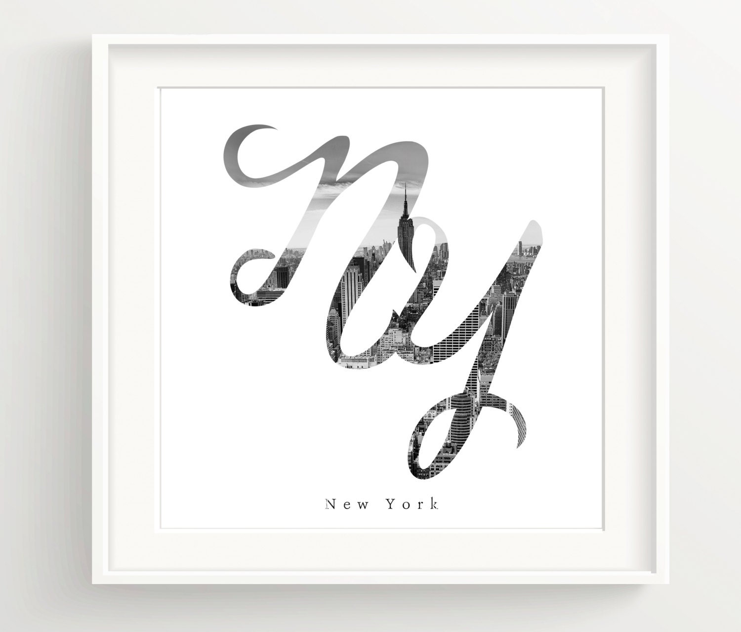 New York City Print Black And White Calligraphy Empire State