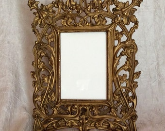 "Vintage Antique Very Heavy 11"" X 9 1/2"" Solid Brass Picture Frame With Stand Holds 4"" X 6"" Picture"