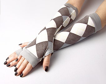 White and Brawn plaid jersey knit Fingerless Gloves with grey edges - Arm Warmers Carnival Hand Warmers  Cuffs Victoriian Goth Cotton Kawaii