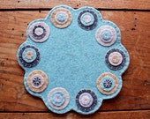 Spring Penny Rug, Penny Mat, Candle Mat, Felt Mat, OFG, FAAP, Pastel Penny Rug, Table Top Decor, Wool Mat, Spring Decor