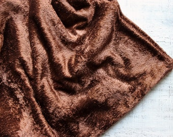 """Rare color vintage plush for making teddy bear chocolate brown 46x57"""""""
