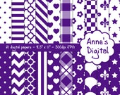 "Purple and White Digital Papers - Matching Solid Included - 21 Papers - 8.5"" x 11"" - Instant Download - Commercial Use (029)"