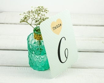 Mint Stripe Wedding Table Number