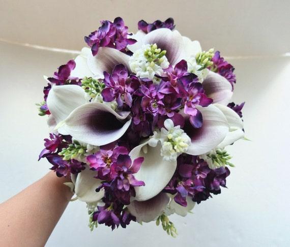 Purple Lily Bridal Bouquet : White plum purple calla lily bouquet bridal