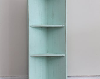 Small Seafoam Wood Corner Shelf