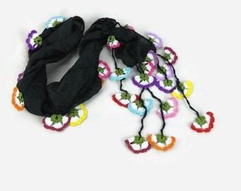 Black Silk Turkish Oya Scarf, Unique Fashinoble Scarf, Black Silk Necklace scarflette , Boho chic spring summer trend