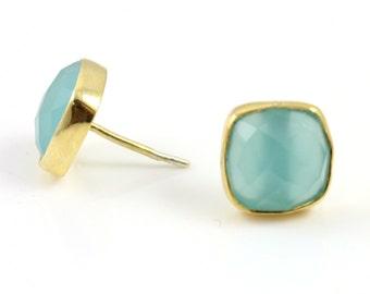 Natural Aqua Ear Studs, Gold Vermeil , Incredible Blue, 13x9mm,1Pair, (ST/AQUA/02)
