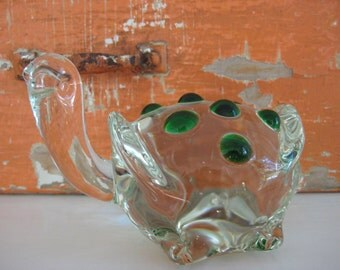 vintage glass turtle / paperweight - clear glass - green spots - reptile - office decor - figurine - glass art - collectible - mid century