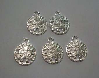 5 pieces Antique Silver Sand Dollar Charms