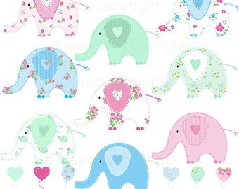 Shabby Chic Elephants - clipart for cards, scrapbooking, invites, general craft work
