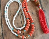 BOHO Tassel Necklace, Coral & Turquoise Bead Tassel Necklace, Long Tassel Necklace
