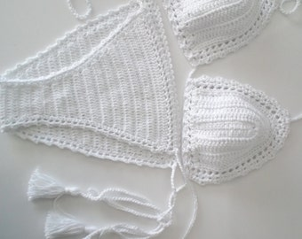 White Crochet Bikini top and brazilian bottom , Swimwear, Crochet Swimsuit, Sexy crochet beach wear,Crochet top and bottoms