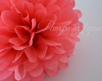 One Island Pink Tissue paper Pom Poms // Wedding Decorations // Party Decorations // Pom Poms