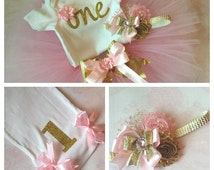 Pink and Gold first birthday outfit,first birthday outfit,first birthday girl outfit,pink birthday tutu,pink tutu,girl birthday outfit