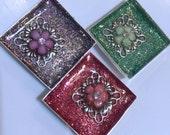 One Inch Square Colored Glitter Floral Magnet Set Rhinestone Centers Refrigerator Decor