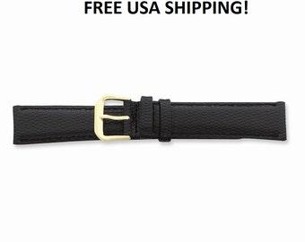 Watch Band 12mm Black Lizard Grain Leather Gold-Tone Buckle