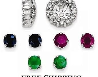 Set of 14k Ruby Earring studs,14k Sapphire Studs, 14k Emerald Studs with 14k White gold Diamond Earrings Jackets,I2 clarity, I-J color