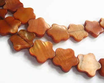 27 Copper Flower Shell Beads, 16mm Mother Of Pearl Beads, Dyed MOP 15 Inch Full Strand, Beach Tropical Shell Beads, Wholesale Beads, BMP003