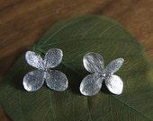 """Hydrangea Flower Post Earrings in Sterling Silver, """"Endless Summer"""" Flower Earrings"""