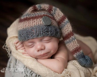Ready to Ship- Elf Super Fine Silk Mohair Newborn Hat for boys - Photo props, Gray, Burgundy and Cream