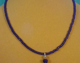 "Beautiful 16"" Cobalt Blue glass necklace - N323"