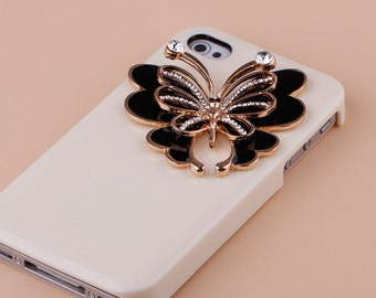 1PCS Bling crystal black Butterfly Flatback Alloy jewelry Accessories materials supplies