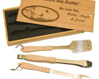 Custom Engraved Personalized Wooden Barbeque (BBQ) Tool Set  - BRAND NEW