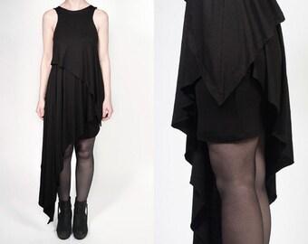 Black Asymmetric Layered Jersey Dress