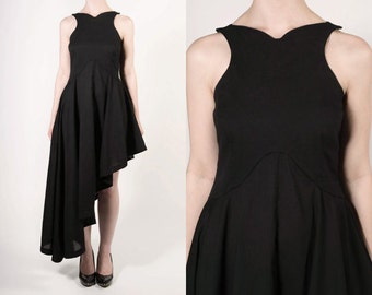 Asymmetric Black Cotton Dress
