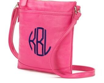 Monogrammed Crossbody Bag - Hot Pink