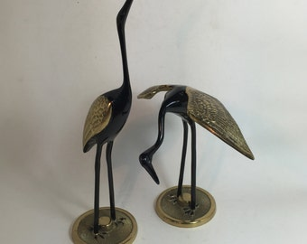 Brass Shore Birds / Vintage Brass Cranes / Brass and Black Laquer Bird Figurine / Tall Brass Shorebirds
