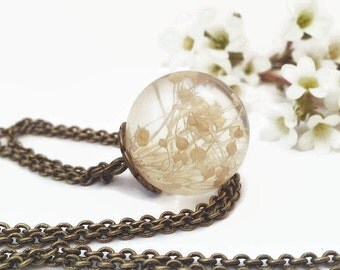 Real flower necklace - Dried Flowers terrarium necklace - Resin Jewelry - Real Flower Jewelry resin sphere pendant - handmade bridesmaid -