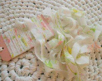 Vintage Handtorn Fabric Ribbon, 10 yd Handmade Floral Fabric Ribbon, Handmade Ribbon, Vintage Ribbon, Shabby Chic Ribbon, Gift wrap, Garland