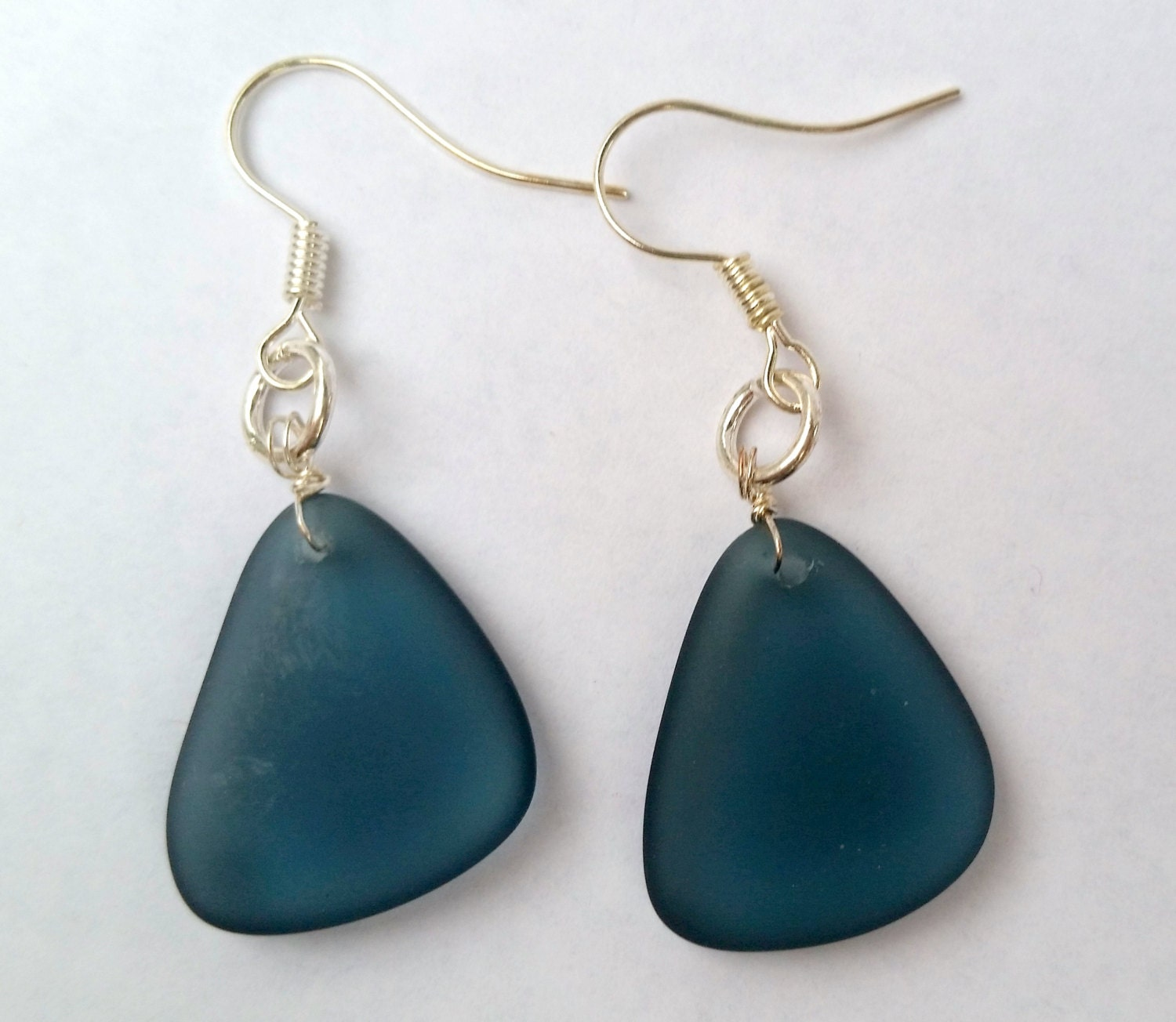 dark blue sea glass earrings by charminglywhimsical on etsy