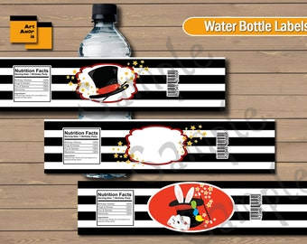 Circus water bottle label, Circus water label, Circus bottle label, Circus label printable, Party printable, party decoration, magic TFP-1