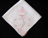 Hanky Monogramed, Initial J Handkerchief Embroidered Letter Monogrammed