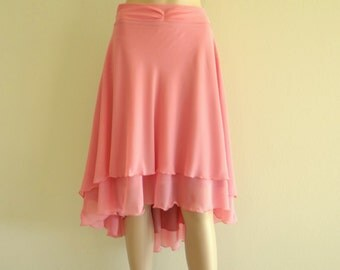 Dusty Rose Bridesmaid Skirt. Dusty Rose High Low Skirt. Chiffon Party Skirt.