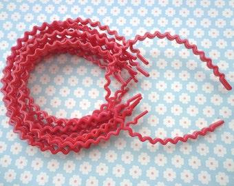 SALE--20 pcs red color  the wave shape   plastic Headband 5mm Wide