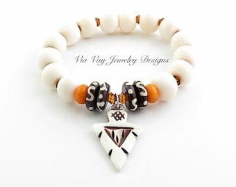 Tribal Arrowhead White Bone Bracelet